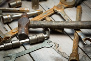 rusty hammer and tools